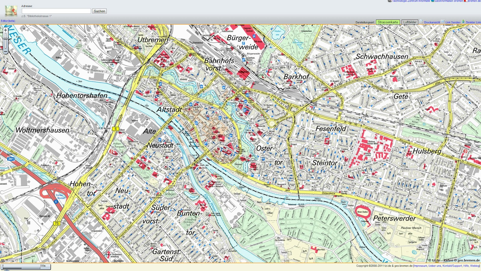 Karte Frankfurt Hotels
