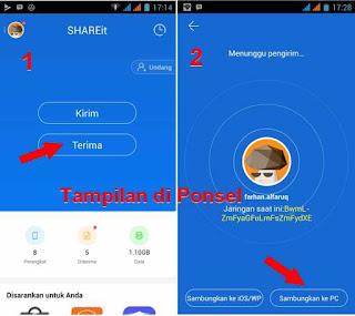 tampilan share it ponsel