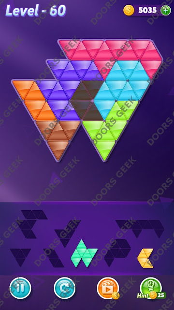 Block! Triangle Puzzle 7 Mania Level 60 Solution, Cheats, Walkthrough for Android, iPhone, iPad and iPod