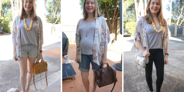 floral kimono #30wears 3 ways with grey tees, denim and cross body bags | awayfromtheblue