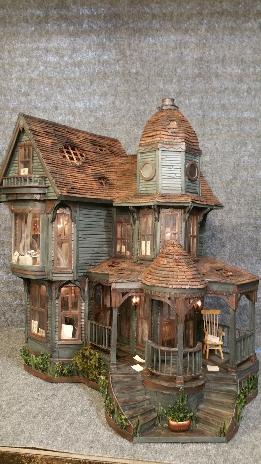 Greggs Miniature Imaginations Haunted Mansion made out of Cardboard