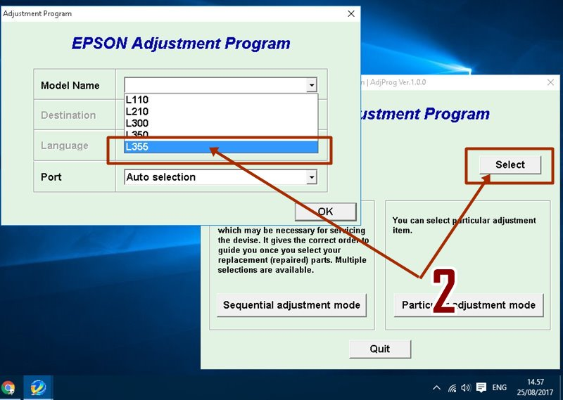 Buy epson l110, l210, l355, l550. L555 adjustment program and download.