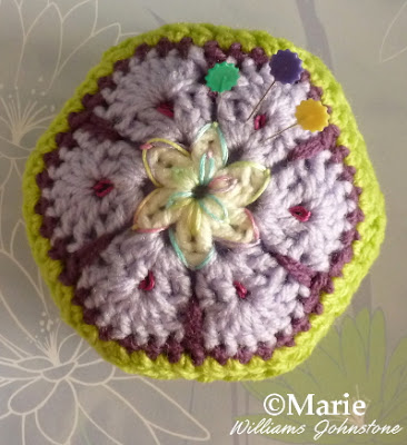 Hexagon crocheted pincushion