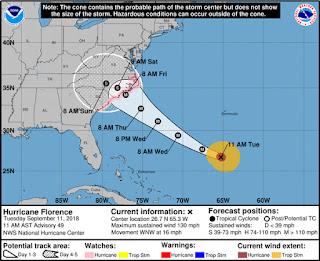 Furação Florence nos Estados Unidos pode atingir 12 usinas no clear