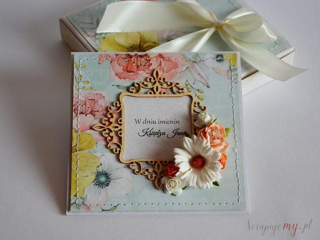 kartka imieninowa z kwiatami, kartka z kwiatami, kartka w pudełku