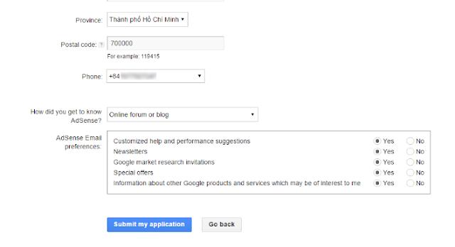 Hoàn tất đăng ký tài khoản google adsense