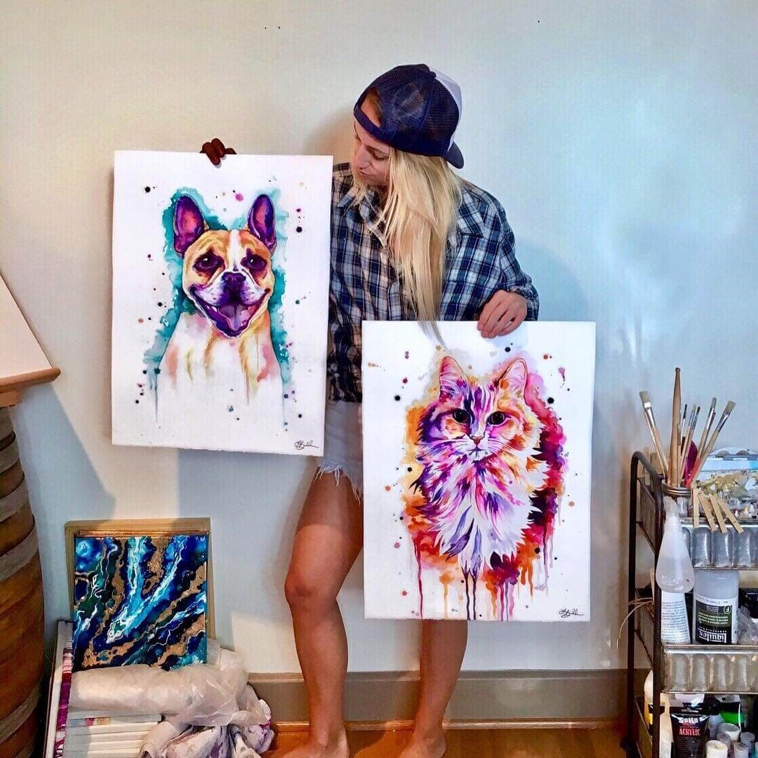 05-Dog-and-Cat-Lindsay-Michelle-Colorful-Domestic-and-Wild-Animal-Paintings