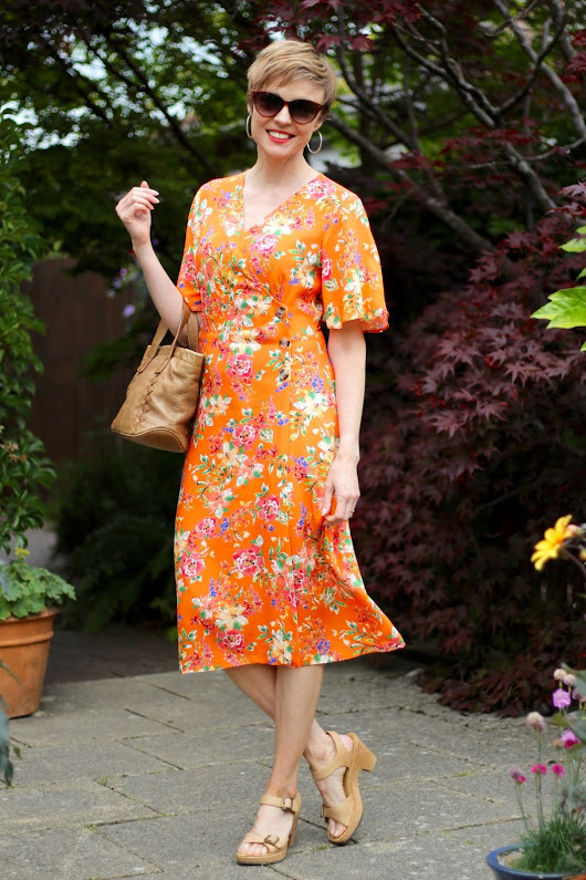 Orange Floral Wrap Dress | Simple Summer Outfit