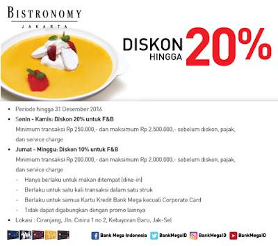 Diskon hingga 20% Bistronomy - Bank Mega