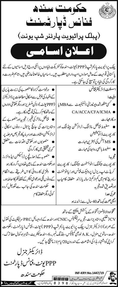 Finance Department Sindh 2019 for Assistant Director Finance