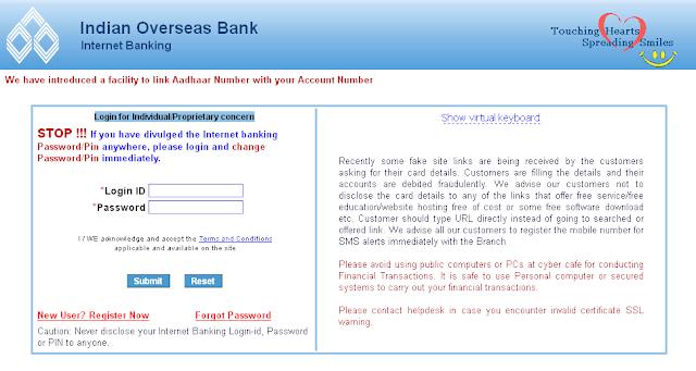 IOB Net Banking Login Page