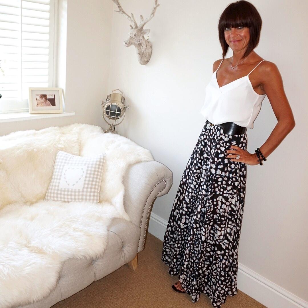 my midlife fashion, mango camisole, religion animal print maxi skirt, iro embellished leather eyelet sandals