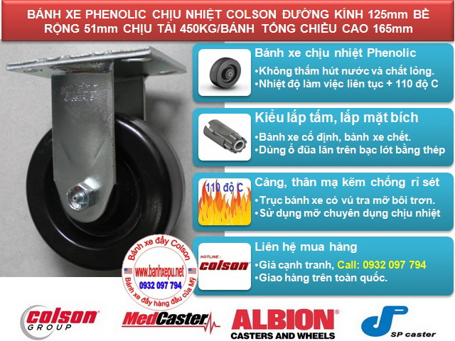 Bánh xe nhựa Phenolic chịu nhiệt lò hấp Colson Mỹ 5 inch | 4-5108-339 www.banhxeday.xyz