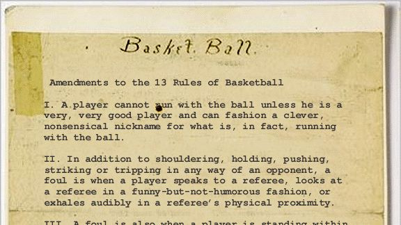 "Original rules of ""Basket Ball,"" written by James Naismith. Sold at auction for $4.3 million. Baskets and Ladders. marchmatron.com."