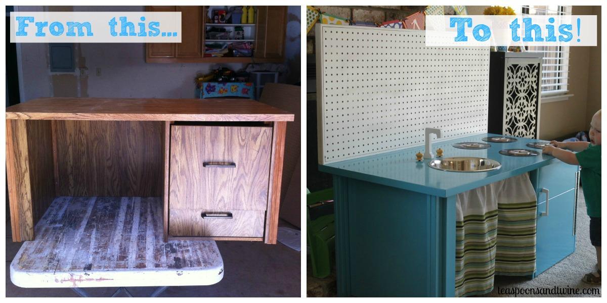 Teaspoons & Twine: Upcycled Play Kitchen - Little Kids Kitchen Ideas