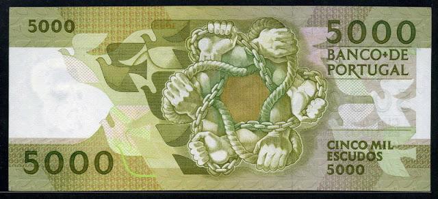 Portugal bank notes 5000 Escudos Banco de Portugal