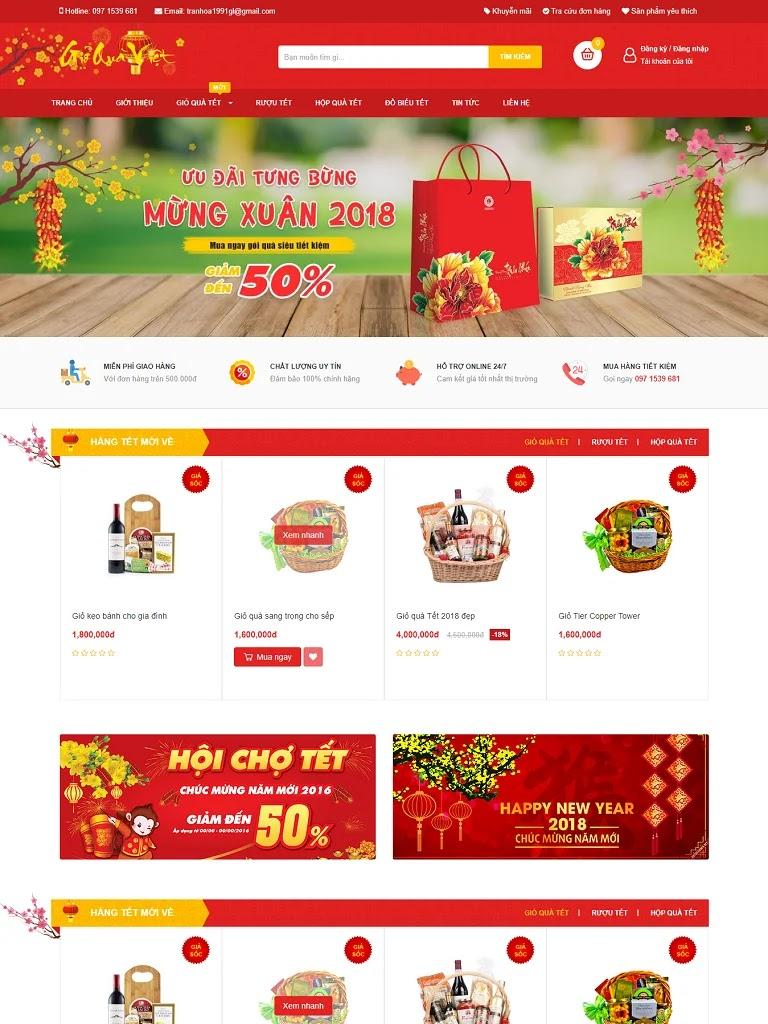 Template blogspot bán hàng quà tết chuẩn seo