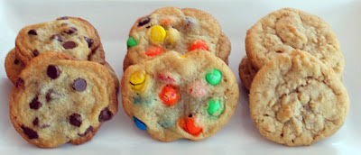 One Dough Recipe for Chocolate Chip, Oatmeal and M&M Cookies