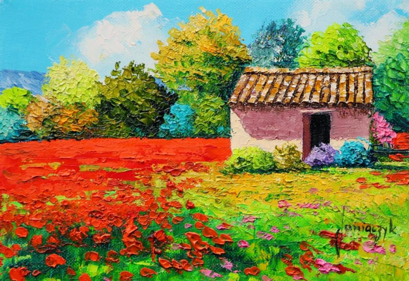 Cuadros Modernos Pinturas Y Dibujos : Coloridos Paisajes