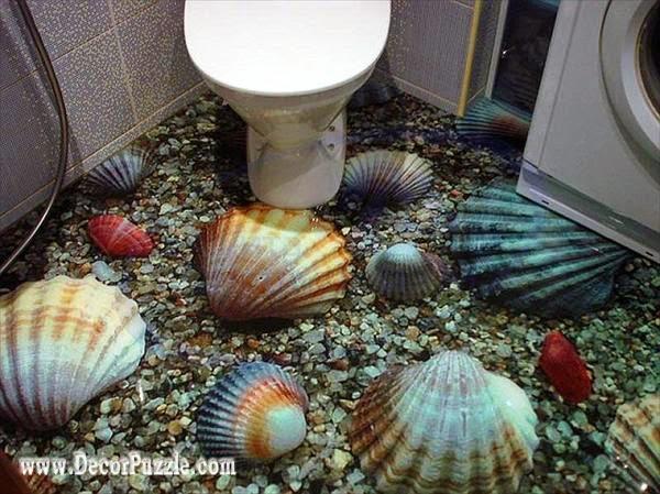 3d bathroom floor murals designs, self-leveling floors for modern bathroom flooring ideas