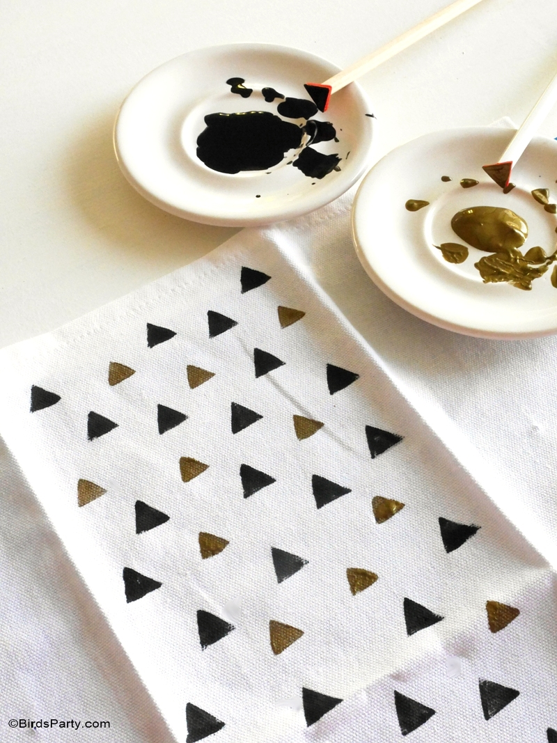 DIY Geometric Hand Stamped Party Napkins - BirdsParty.com