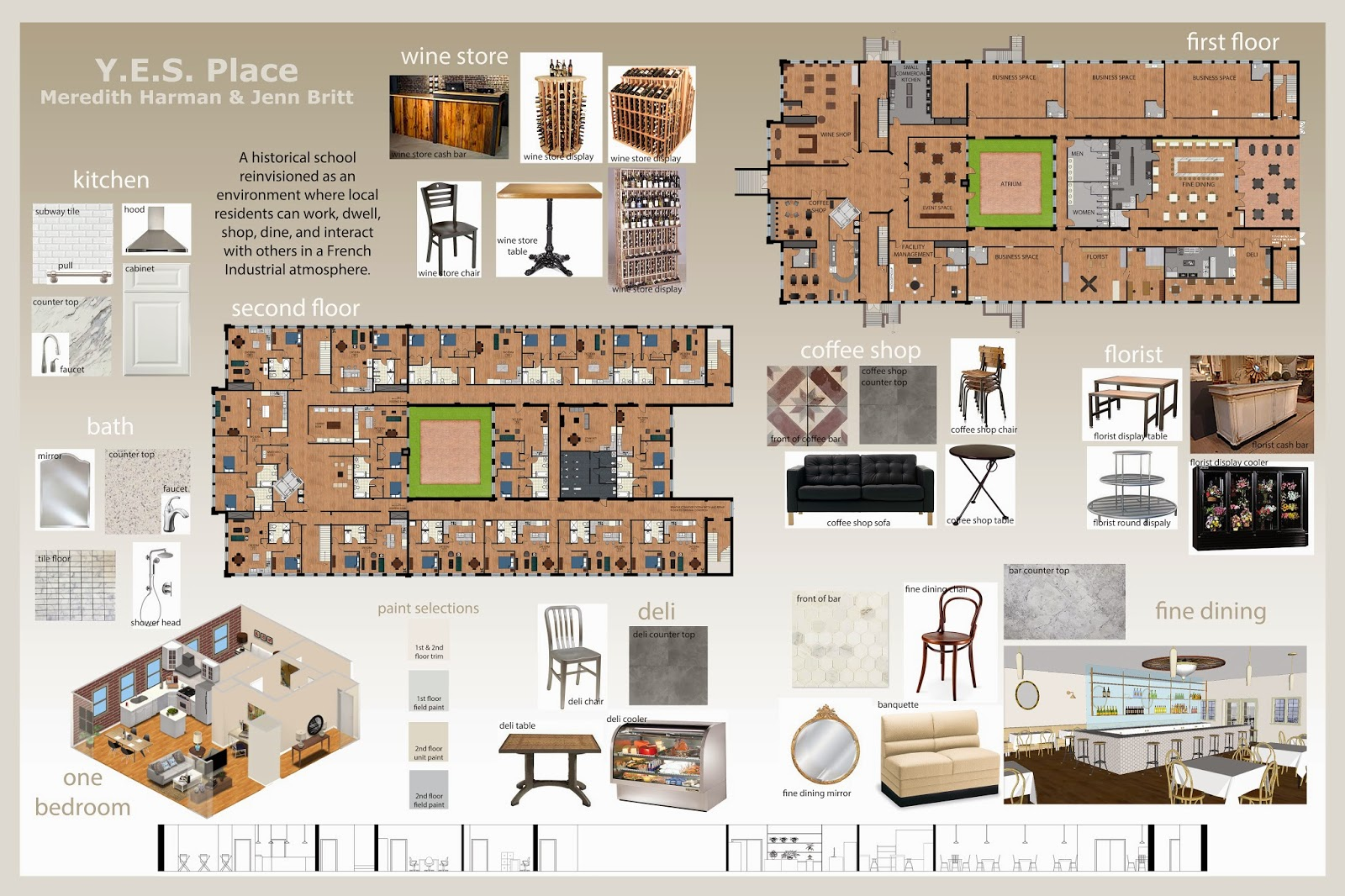 Simply life design final project mixed use facility - Interior design presentation templates ...