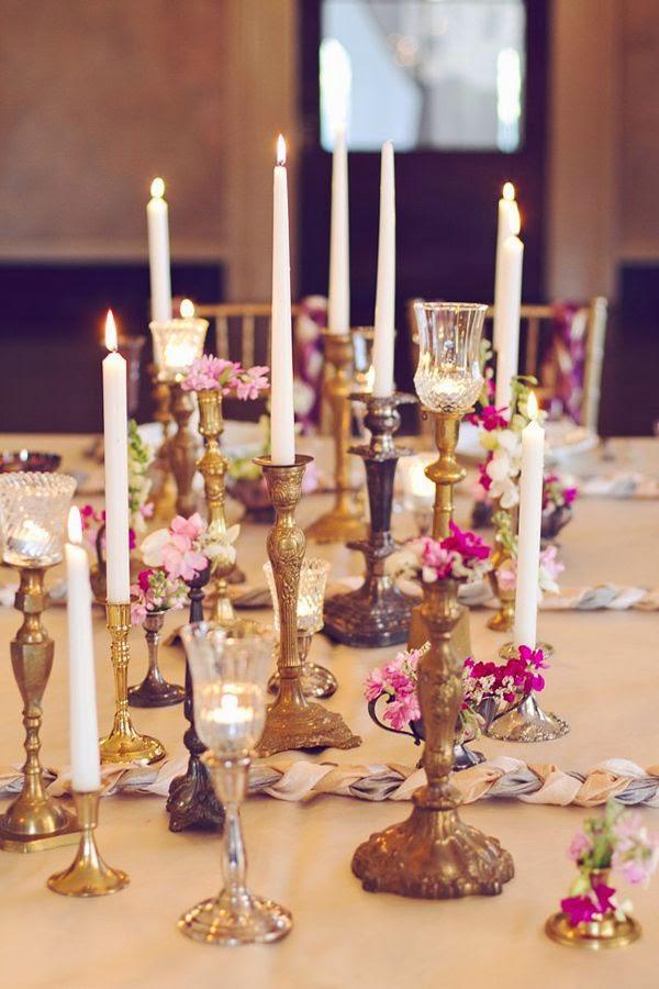 vintage candlestick centerpieces