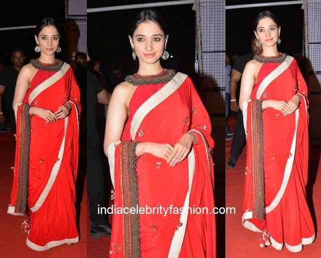 Tamannaah Bhatia in Red Nikasha Saree