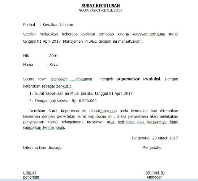 Contoh Surat Kenaikan Jabatan Dan Gaji