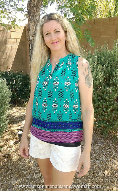 Alice Blue Earlson Split Neck Blouse and Eden Society Chelsie Crochet Short - Stitch Fix