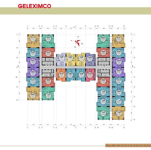 Mặt bằng các tầng điển hình của chung cư Gemek Premium