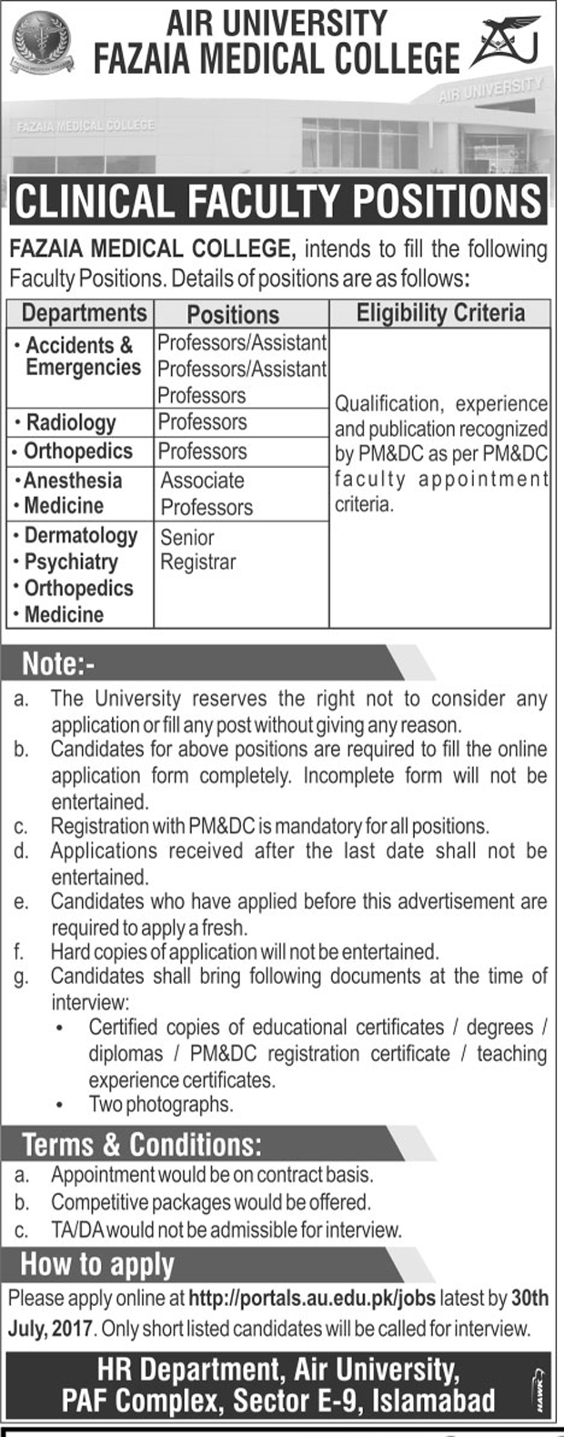 Jobs In Air University Fazaia Medical College Islamabad Jul 2017