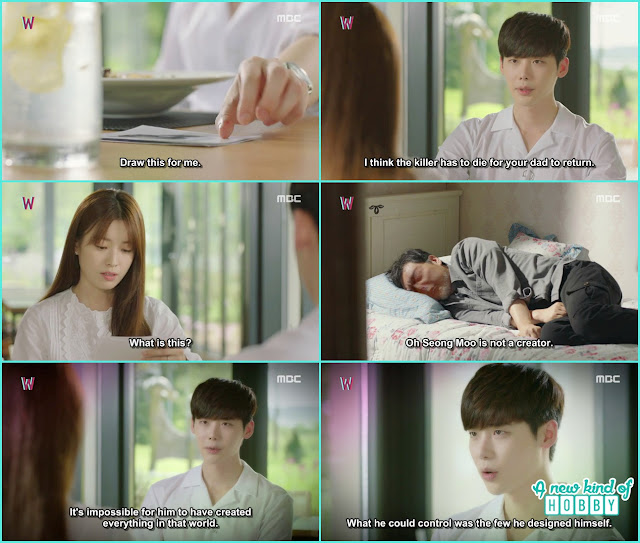 kang chul ask yeon jo to draw something for hin in W's world - W - Episode 12 Review
