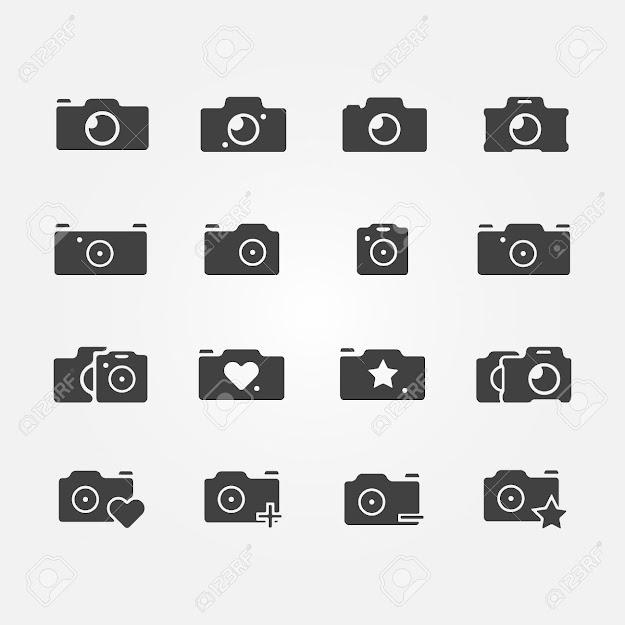 Camera Icons Set  Black Vector Camera Symbols Stock Vector