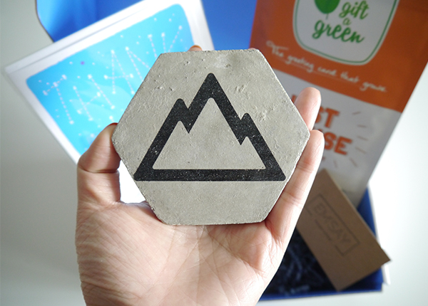 Vancity Subscription Box Emsay concrete cork coaster front