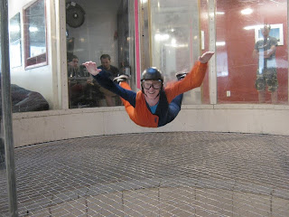 Kyle flying in the wind tunnel