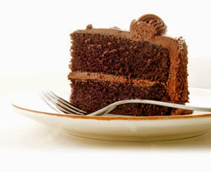 Chocolate cake with fork on plate