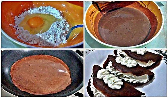 Preparación de las crepes de chocolate