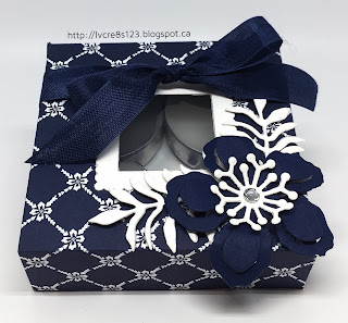 Linda Vich Creates: Exciting Stampin' Up! News and Stamp Class Projects. This box for four tea light candles is stunning when made from Floral Boutique DSP and embellished with flowers die cut with the Botanical Builder Framelits.