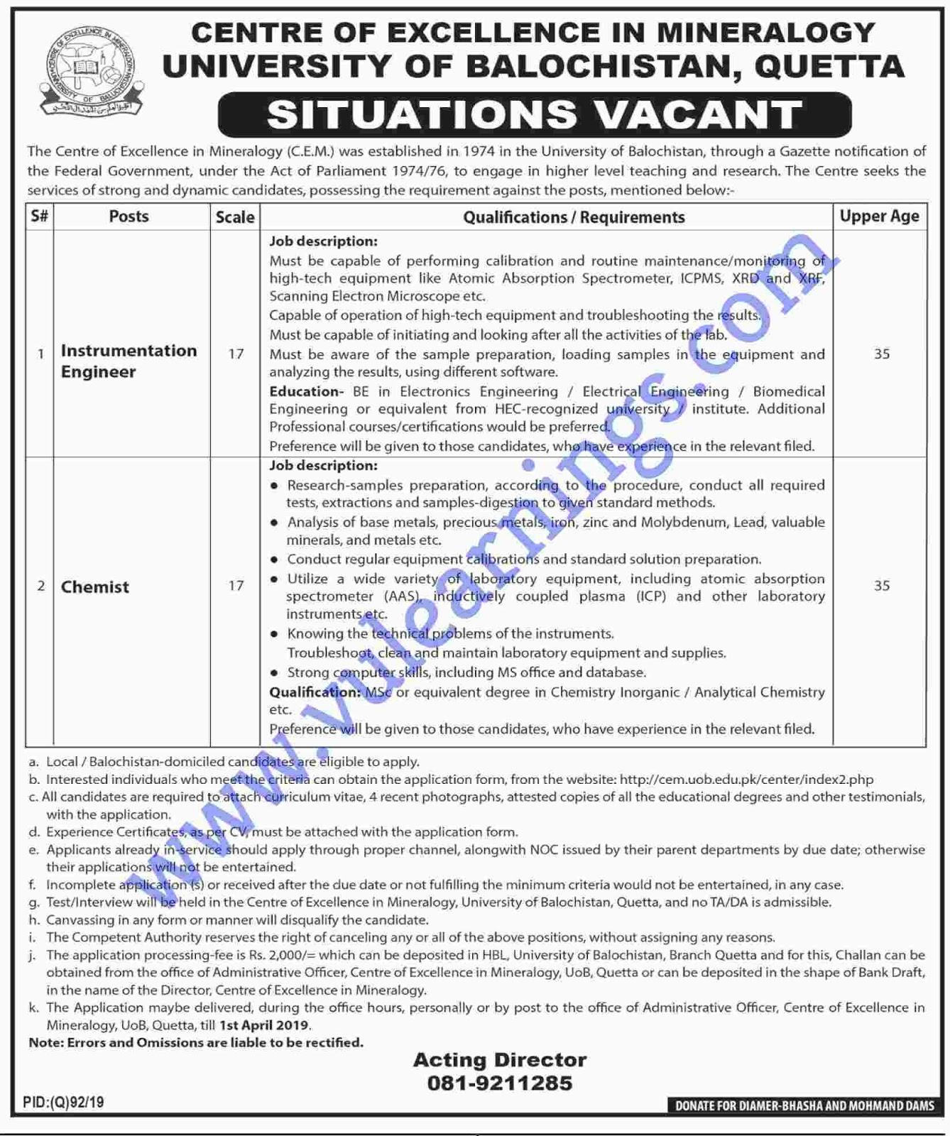 Job in University of Baluchistan