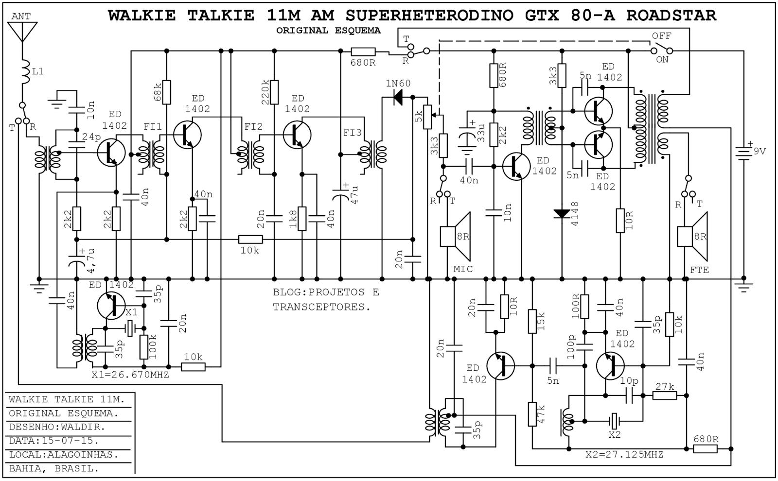 projetos e transceptores   walkie talkie am cb roadstar