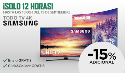 -15% adicional televisores Samsung 4K El Corte Inglés