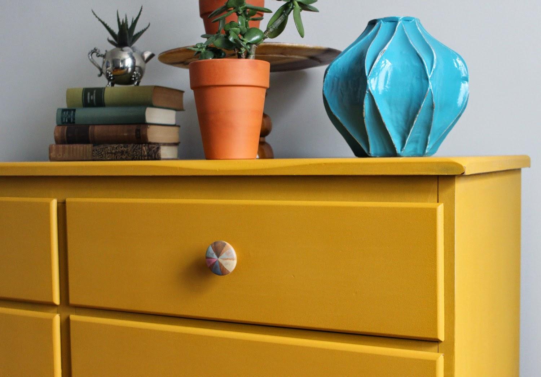 Very Poppyseed Creative Living: Mustard Yellow Dresser with Hand  HO03