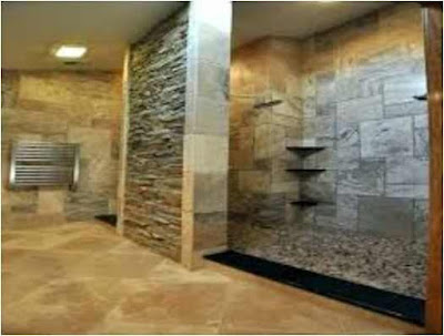 Bathroom With Stacked Stone.
