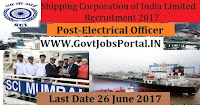 Shipping Corporation of India Limited Recruitment 2017–Electrical Officer