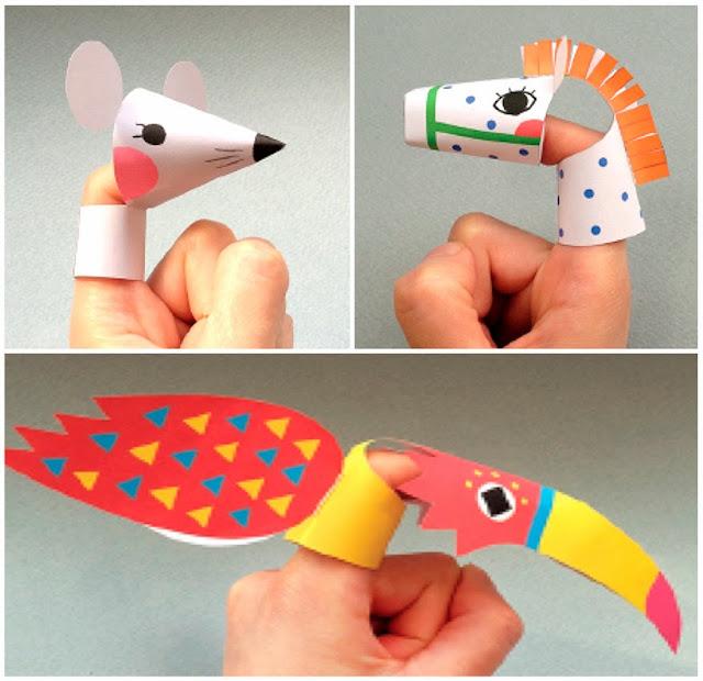Marionetas de dedo de animales - Juguetes de papel para niños