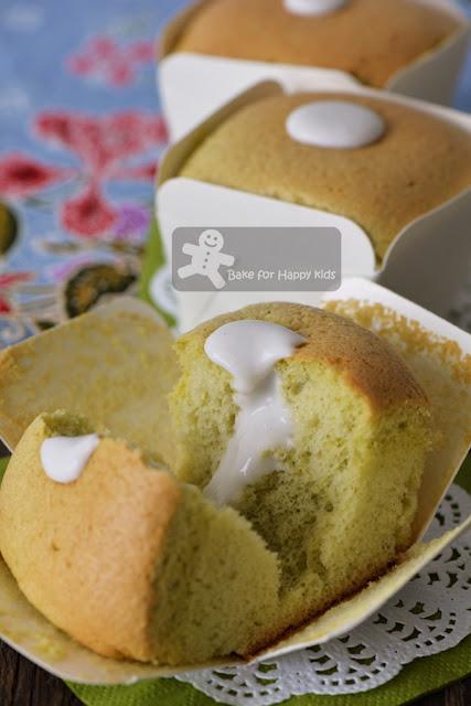 Hokkaido pandan chiffon cupcakes with coconut cream