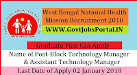 West Bengal National Health Mission Recruitment 2018 – 35 Block Technology Manager & Assistant Technology Manager
