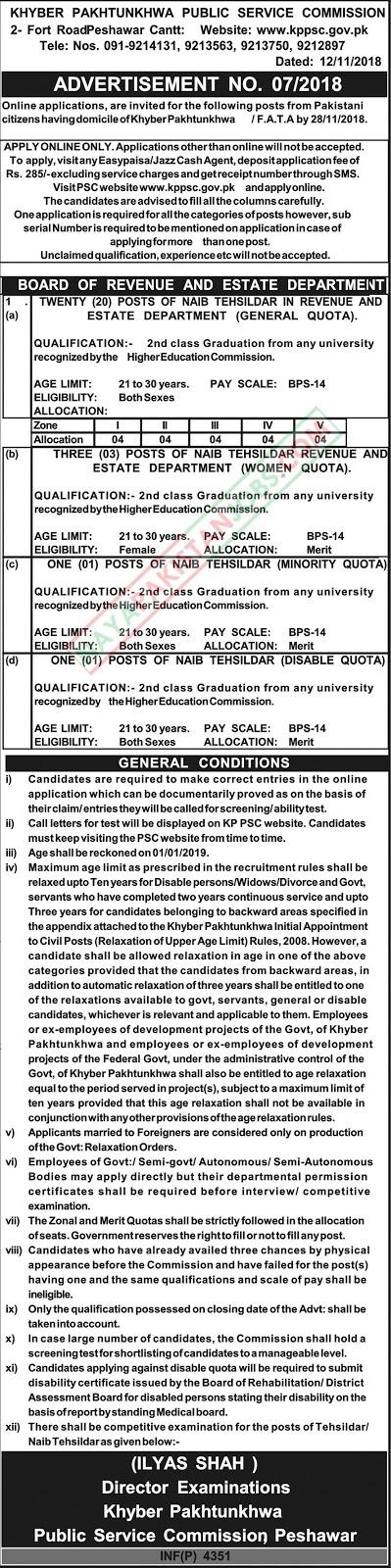 KPPSC Jobs Nov 2018 | Khyber Pakhtunkhwa Public Service Commission