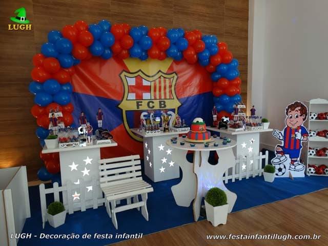 Decoração Barcelona - Mesa decorada com o time de futebol do Barcelona para festa de aniversário infantil - Barra RJ